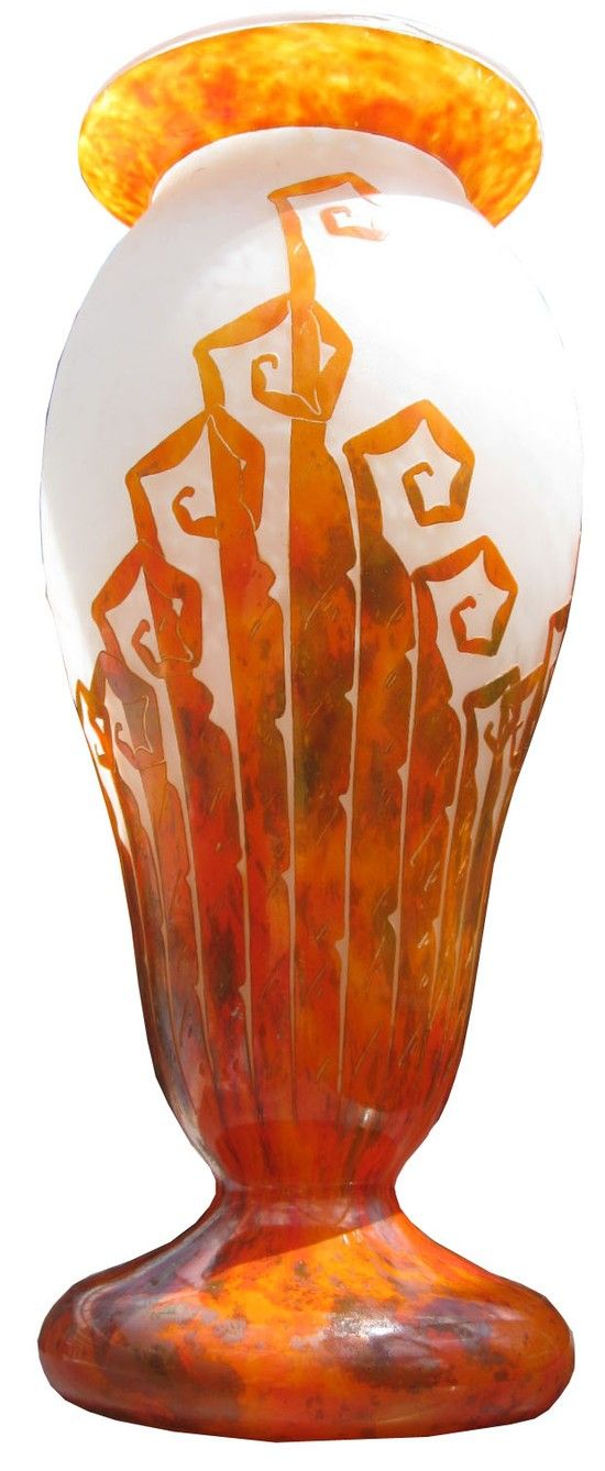 French art deco cameo glass vase was created by Charles Schneider, vase produced...