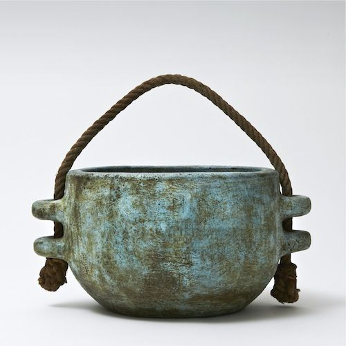 Large cachepot with rope handle, decorated with water-green and blue slips (Fran...
