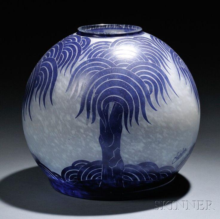 Vases home decor le verre francais cameo glass palmier for Decoration vase en verre