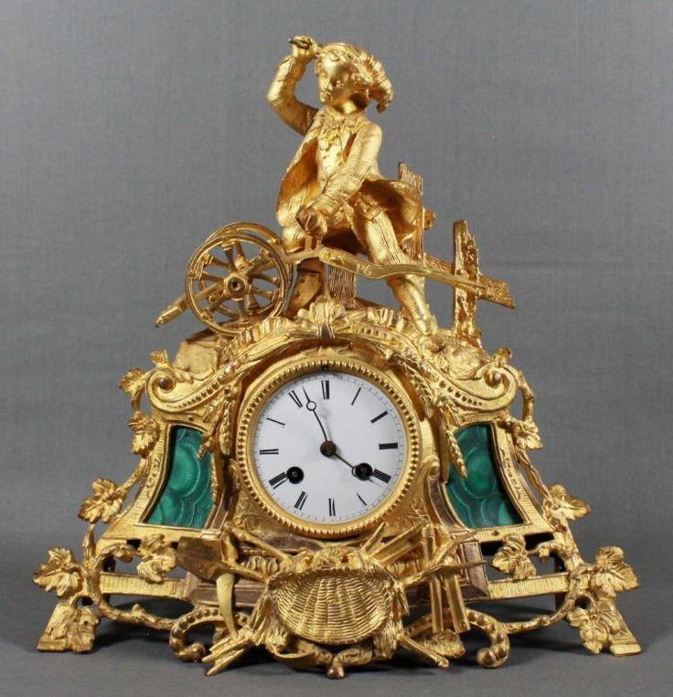 FRENCH BRONZE AND MALACHITE CLOCK …