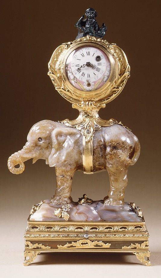 Miniature clock in the form of an elephant supporting a watch case Date: ca. 175...