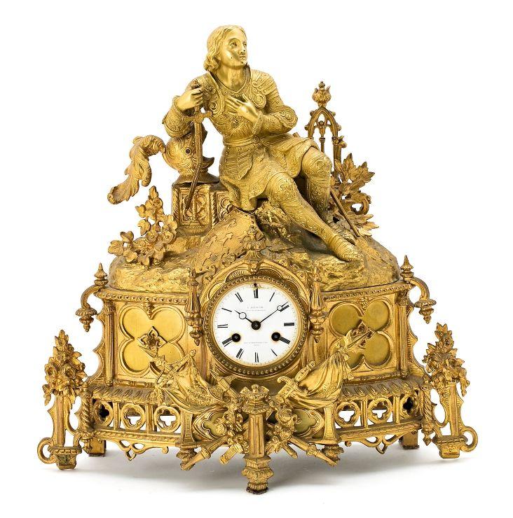 Reloj de sobremesa francés Luis Felipe en bronce dorado, de mediados del siglo ...