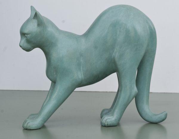 Bronze Cats sculpture by artist David Cornell titled: 'Frightened Cat (bronz...