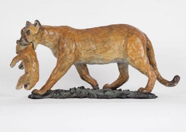 Bronze on bronze base Cats sculpture by artist Cynthia Lewis titled: 'Cougar...