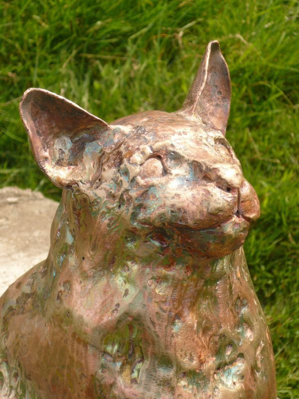 L copper #sculpture by #sculptor Lynn Mahoney titled: 'pussy cat pussy cat where...