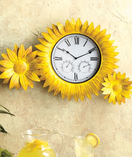 Clocks Decor Sunflower Clock Amp Thermometer Decor