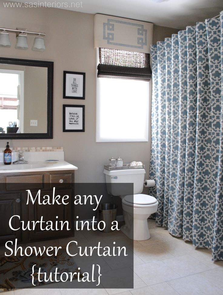 Turn any curtain or window drapery panel into a shower curtain.  Design by @Jenn...