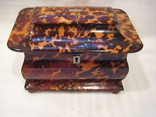 ANTIQUE FAUX TORTOISE SHELL ENGLISH REGENCY TEA CADDY CIRCA 1860