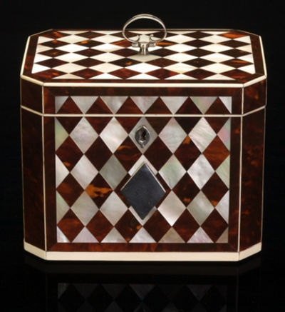 Georgian 'harlequin' tea caddy, tortoiseshell, mother-of-pearl, ivory wi...
