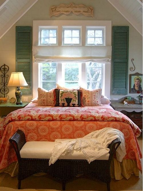 Love the window!  | Alison Kandler's Colorful Farmhouse bedroom (25)