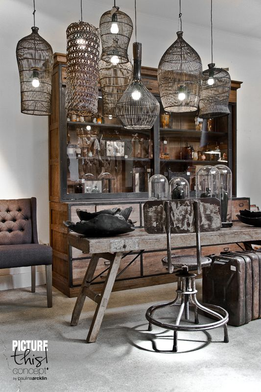 Home decorating diy projects collection of basket style lighting hanging over a rustic table - Home decoration inspiration collection ...