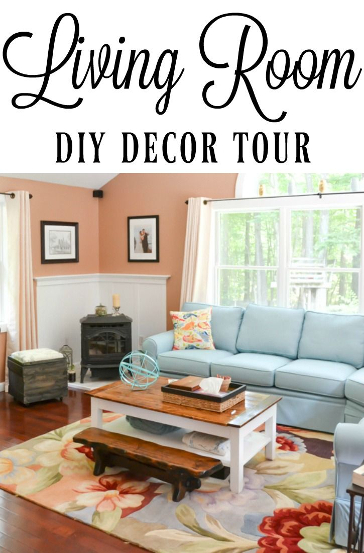 home decorating diy projects this is such a cozy living room with some actual color blue and. Black Bedroom Furniture Sets. Home Design Ideas