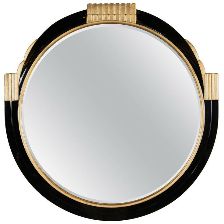 Art Deco Round Mirror with Gilded Detailing in the Style Of Ruhlmann