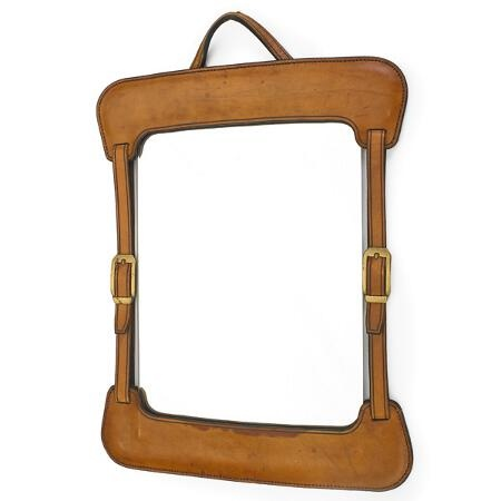 Jacques Adnet; Stitched Saddle Leather and brass Wall Mirror, 1940s.