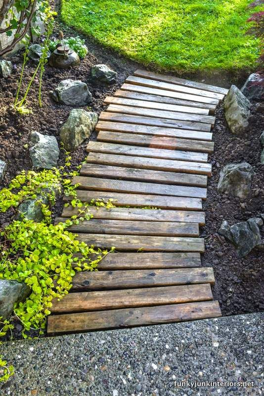1-14-pallet wood garden walkway Funky Junk Interiors Cheap and easy!