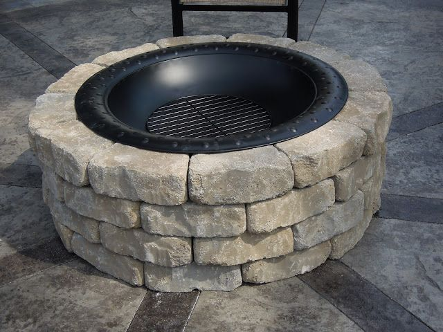 raised fire pit with fire bowl