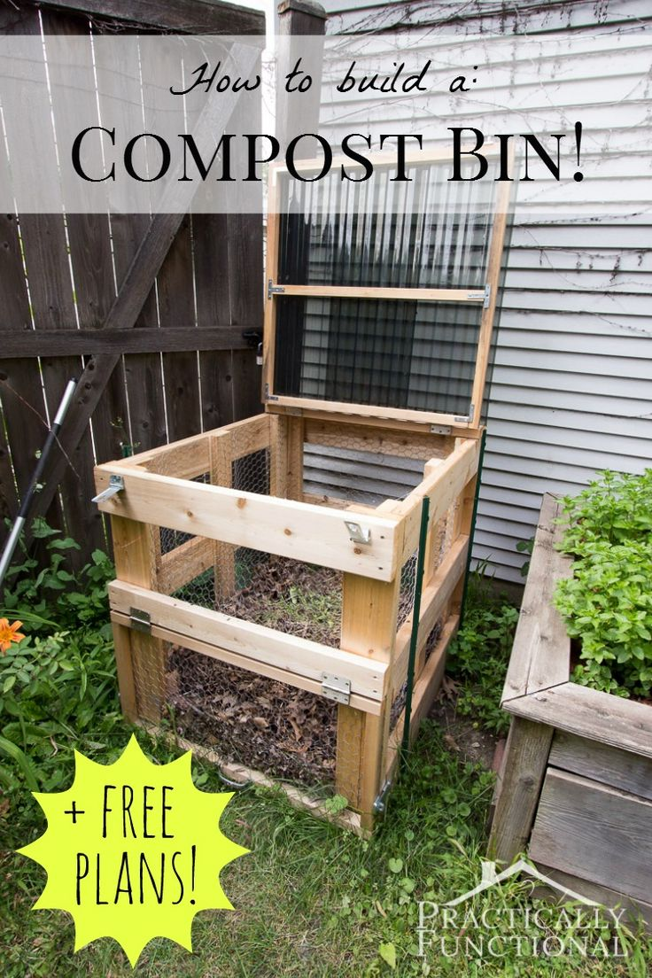 This DIY compost bin is sturdy, easy to open, has good airflow, and latches clos...