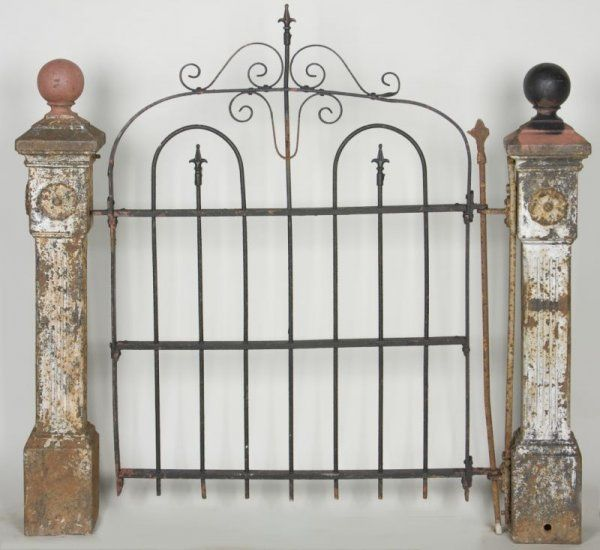 antique garden gate posts with gate