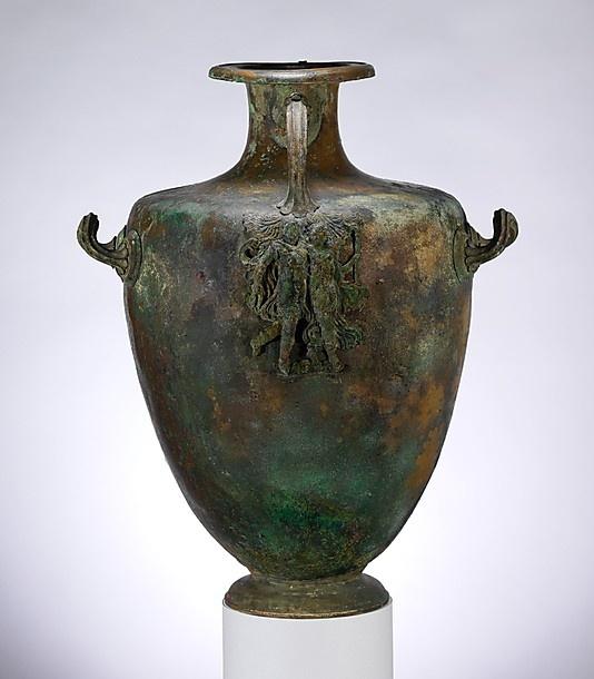 Bronze hydria (water jar) Period: Classical Date: mid-4th century B.C. Culture: ...