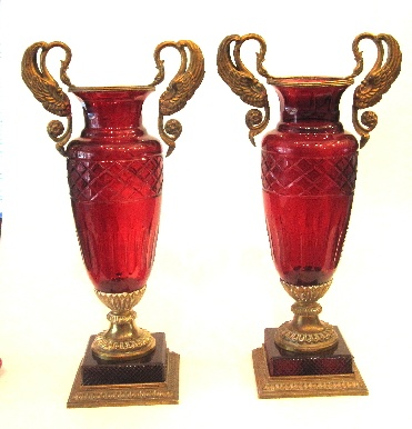 A pair of elegant French 19th Century Baccarat red cut crystal vases with fine o...