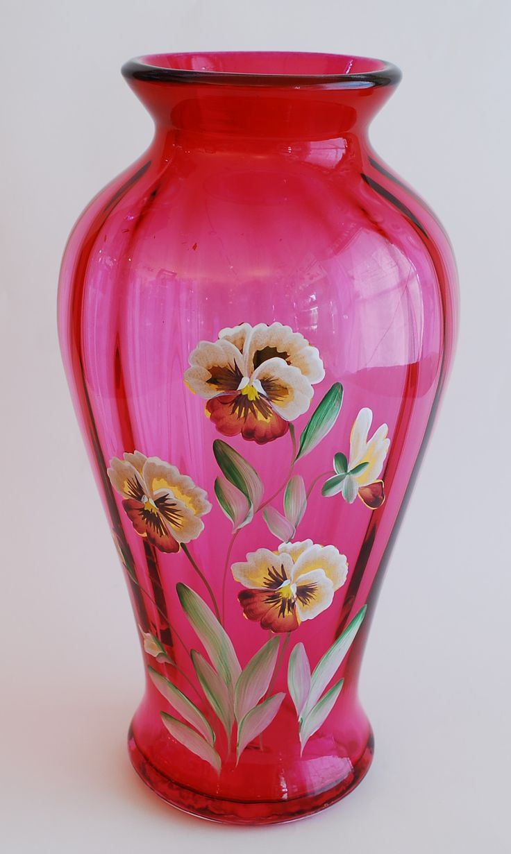 Vases Home Decor Fenton Pansies Cranberry Glass Vase