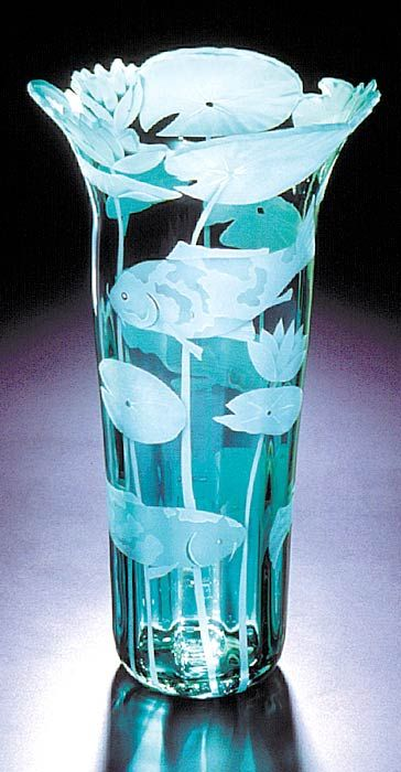 Koi Fish and Lilies art glass by Cynthia Myers