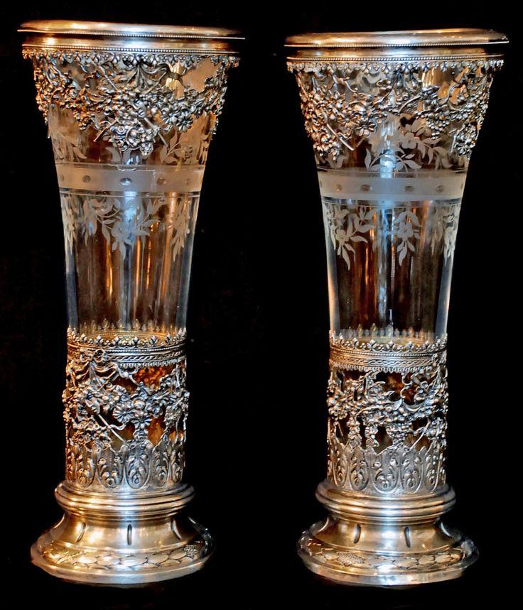 Vases Home Decor Pair Of Sterling Amp Crystal Vases