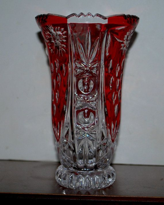 red and clear crystal vase lead crystal vase by capecodgypsy, $27.00
