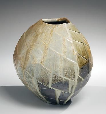 Rounded triangular vessel with diagonally faceted exterior, 2012 Natural ash-gla...