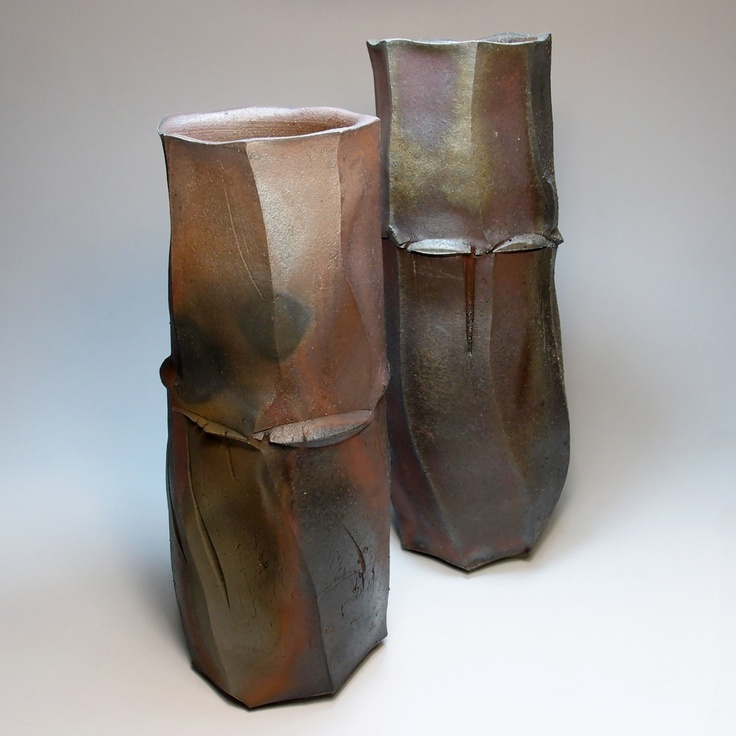 Tom Charbit | Facetted Vases | Stoneware, woodfired at 1280°C (16 hours), Train...