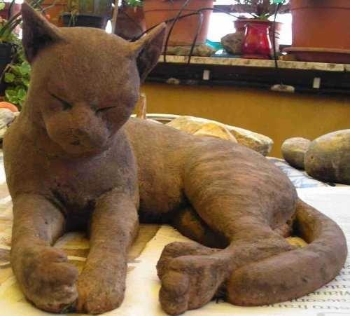 #Terracotta #sculpture by #sculptor Gaetano Cherubini titled: 'Cat (Drowsing lif...
