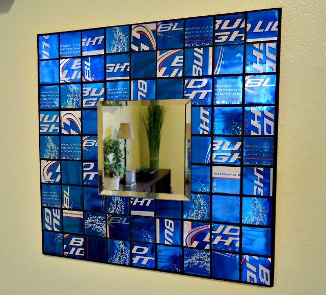 Mosaic Mirror from Recycled Beer Cans - Royal Blue - Man Cave - Fathers Day. $35...
