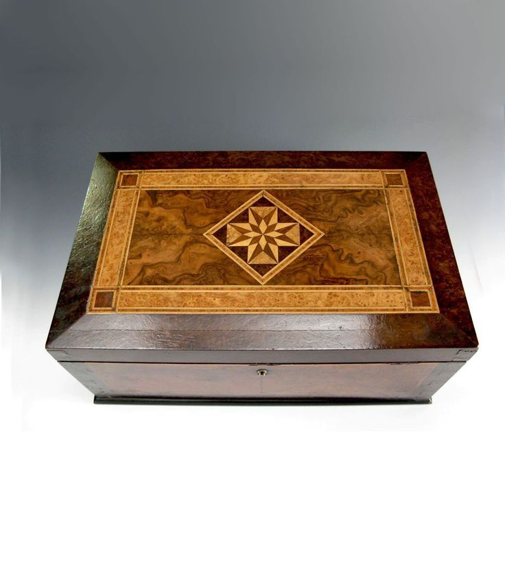 Decorative Boxes Beautiful Antique Marquetry Box Fitted