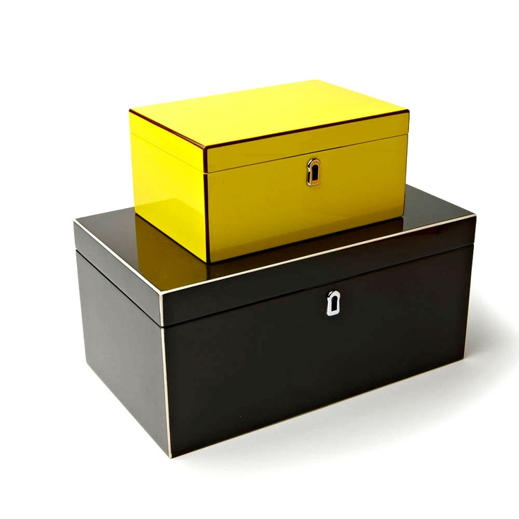 Fashion Jewelry Boxes, in High Gloss Lemon Yellow Green Lacquer, sharing luxury ...