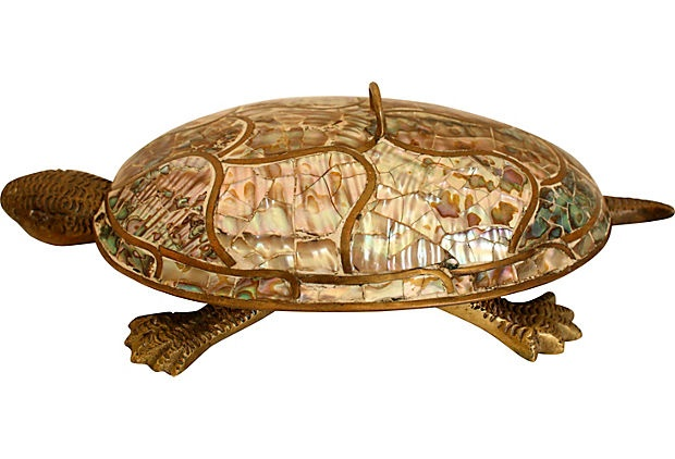 Mother-of-Pearl & Brass Turtle Box