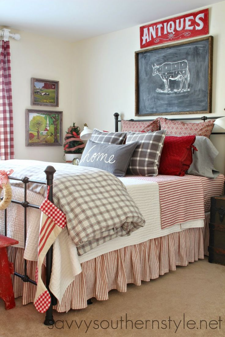 Furniture Bedrooms Guest Room Farmhouse Style Red