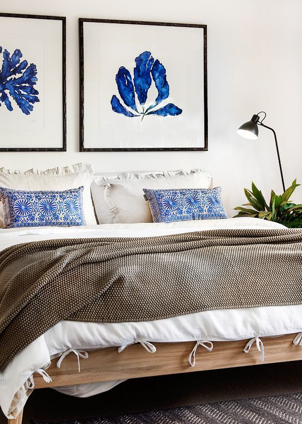Furniture Bedrooms Neutral Bedroom With A Pop Of Blue In The Art And Pillows Decor Object Your Daily Dose Best Home Decorating Ideas Interior Design Inspiration