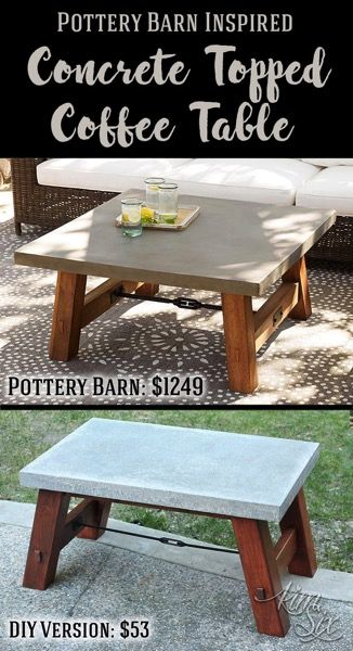 Pottery Barn Inspired Concrete Top Coffee Table