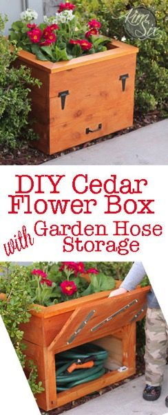 Cedar Planter Box with Hidden Hose Storage: An easy inexpensive DIY project usin...