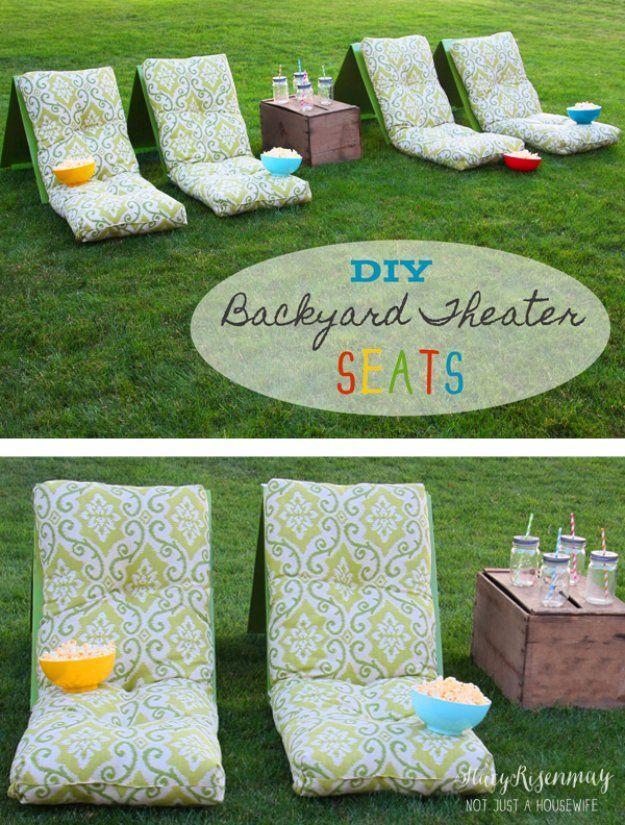 DIY Ideas to Get Your Backyard Ready for Summer - DIY Backyard Theater Seats - C...