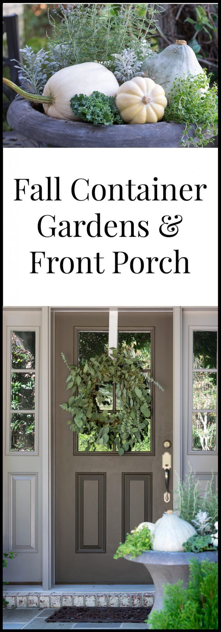 Natural and Neutral Fall Container Garden and Front Porch Ideas using primarily ...
