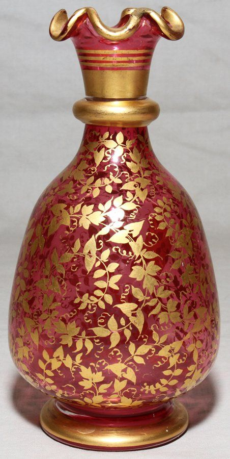 Vases Home Decor Moser Cranberry Glass Vase C 1870 H 6 1 3 Ruffled Gilt Edge Not Signed