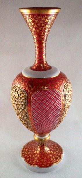 Vases Home Decor Rare Bohemian Cranberry Gilt Glass Vase Decor