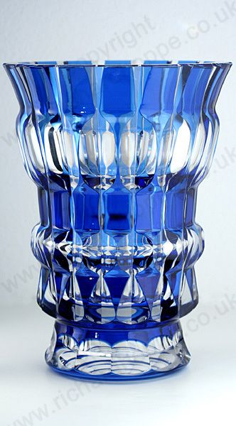 VINTAGE GLASS IN BLUE. c.1950s VAL ST. LAMBERT BUE OVERLAY CRYSTAL AGLAE VASE. T...
