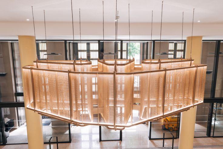 Innovative Metal Mesh Chandelier Graces Grand Parisian Lobby