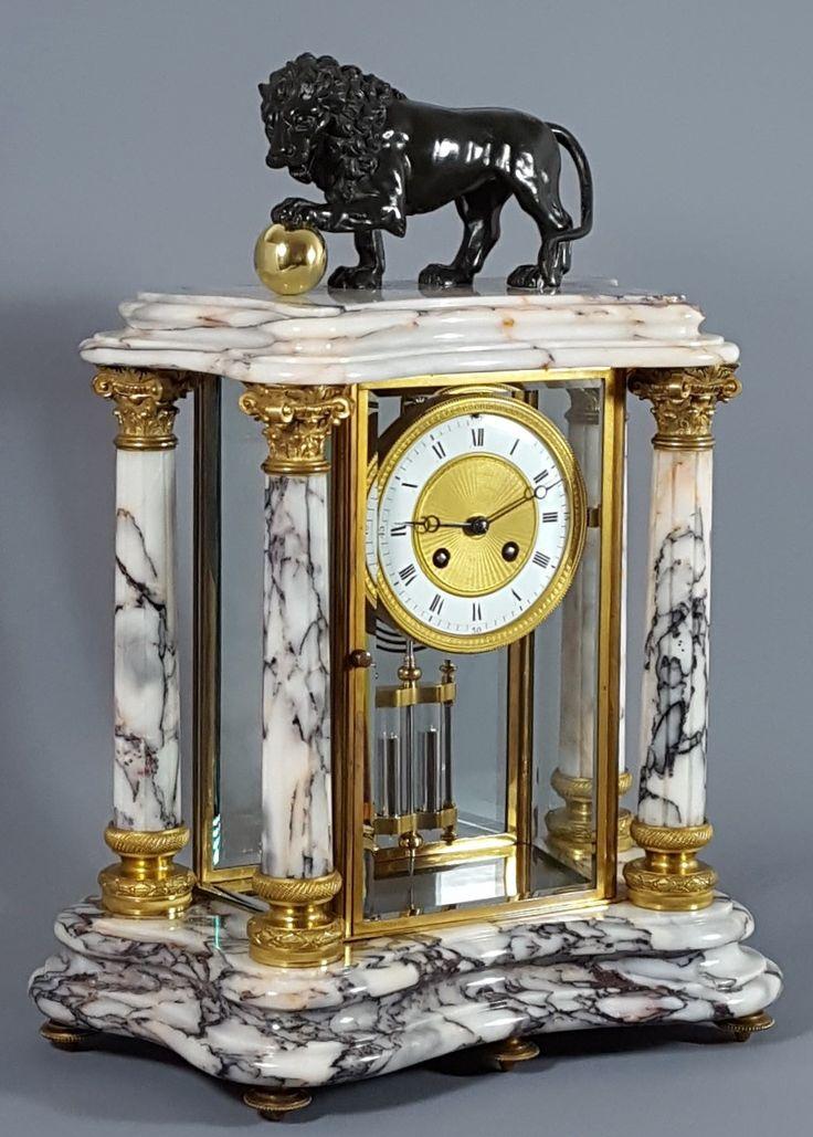 Antique clocks magnificent antique french carrara marble and gilt brass four glass mantel - Antique clock designs for your home ...