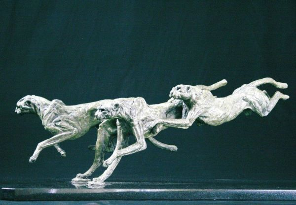 #Bronze #sculpture by #sculptor Jan Sweeney titled: 'Stretch. (Small Bronze Chee...