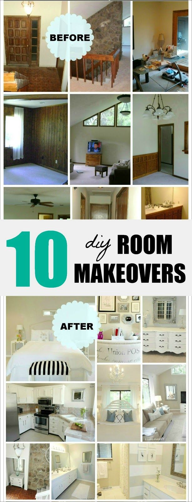 10 inspiring DIY room makeovers done on a small budget! So many great ideas! Che...