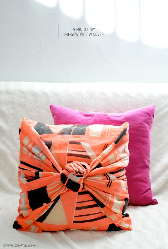 Decor Hacks : 5 Minute no-sew pillow cover - Decor Object ...