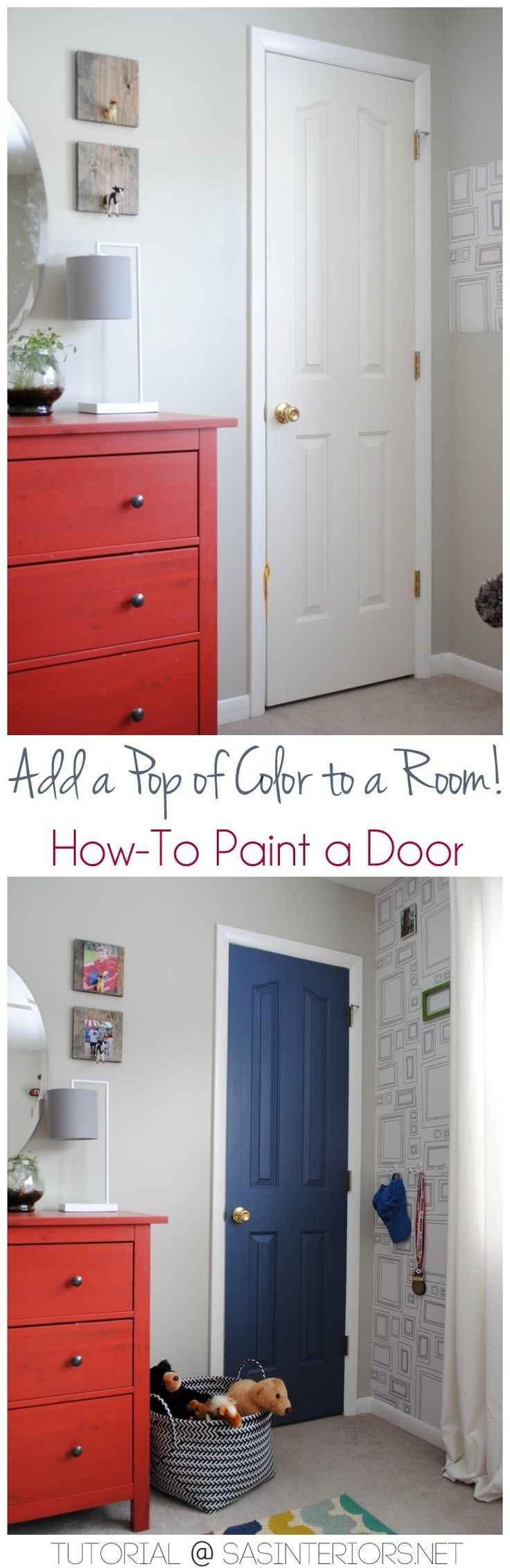 Add a Pop of COLOR by painting the door.  Ditch the typical white (interior or e...